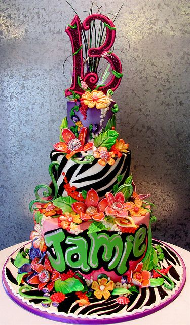 13th Birthday Cake  Wild and wonderful edible floral