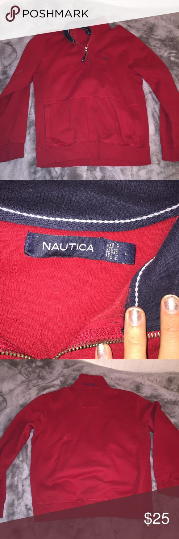 Nautical red quarter zip size large worn once Nautical red quarter zip size large worn once. Perfect condition! Fleece inside that is very soft and warm! Pocket in the front like a hoodie Nautica Sweaters Zip Up