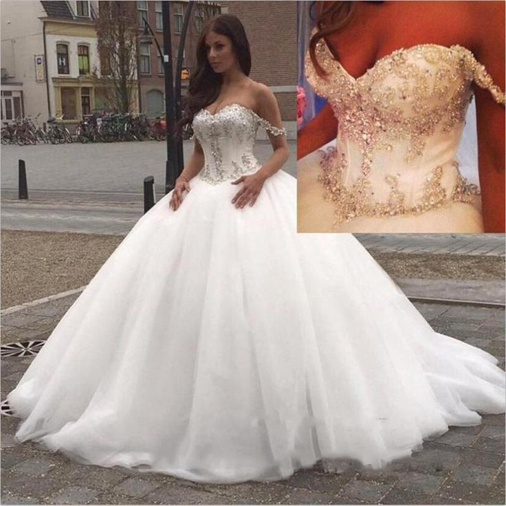 2016 New Off The Shoulder Ball Gown Wedding Dresses Tulle Beaded Crystals Top