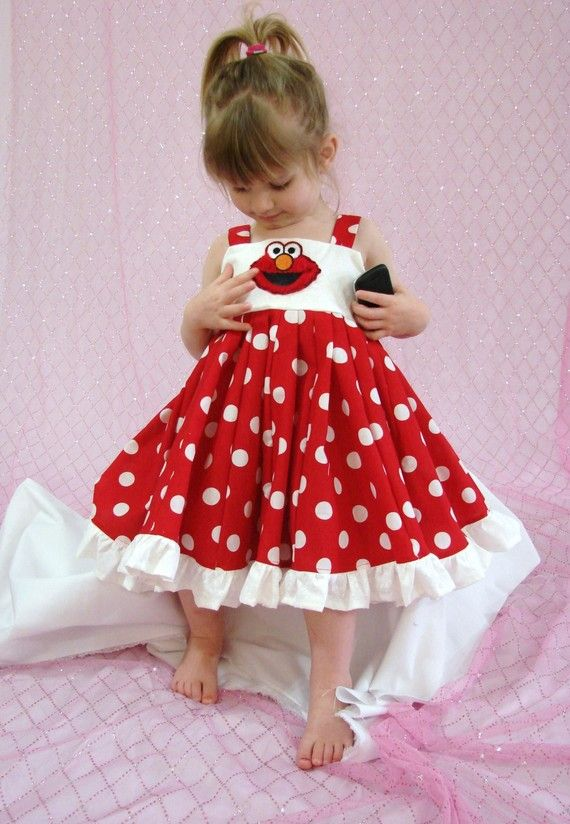 custom boutique twirl dress made with elmo by carriecreations