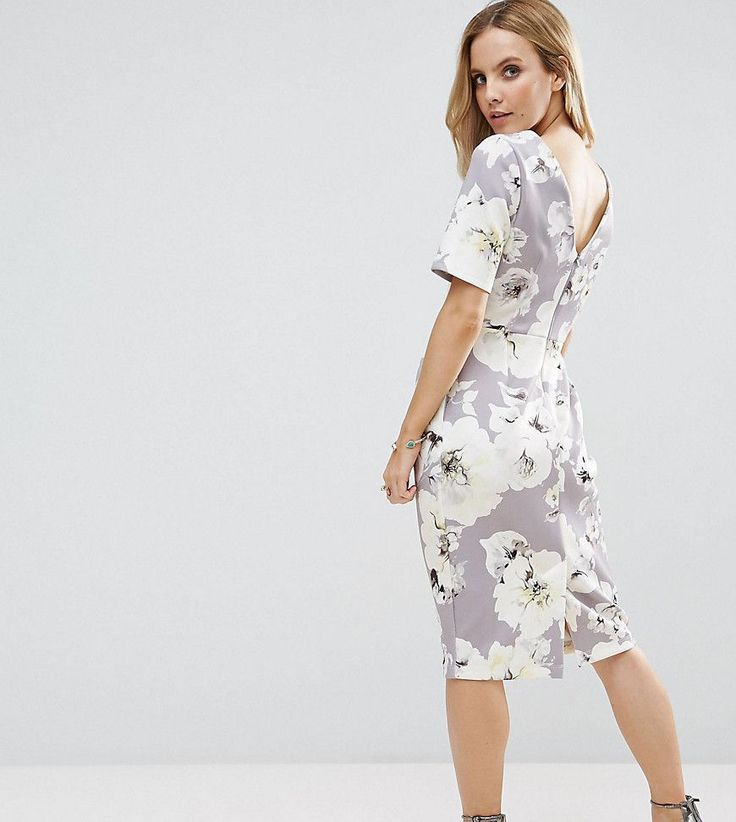 ASOS PETITE Smart Dress with V Back in Gray Floral Print - Gray