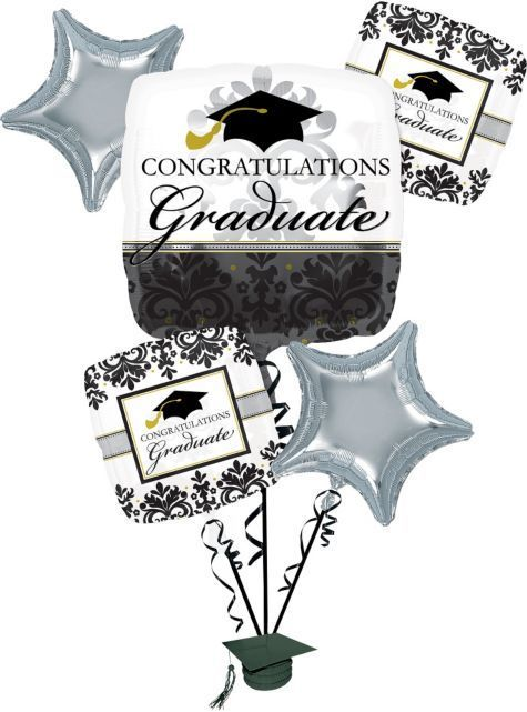 Black and White Graduation Balloon Bouquet – Party City $ 15.99
