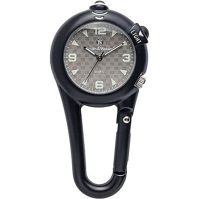 Smith & Wesson SWW-36-BLK Carabiner Classic Watch With LED Light And Belt Clip
