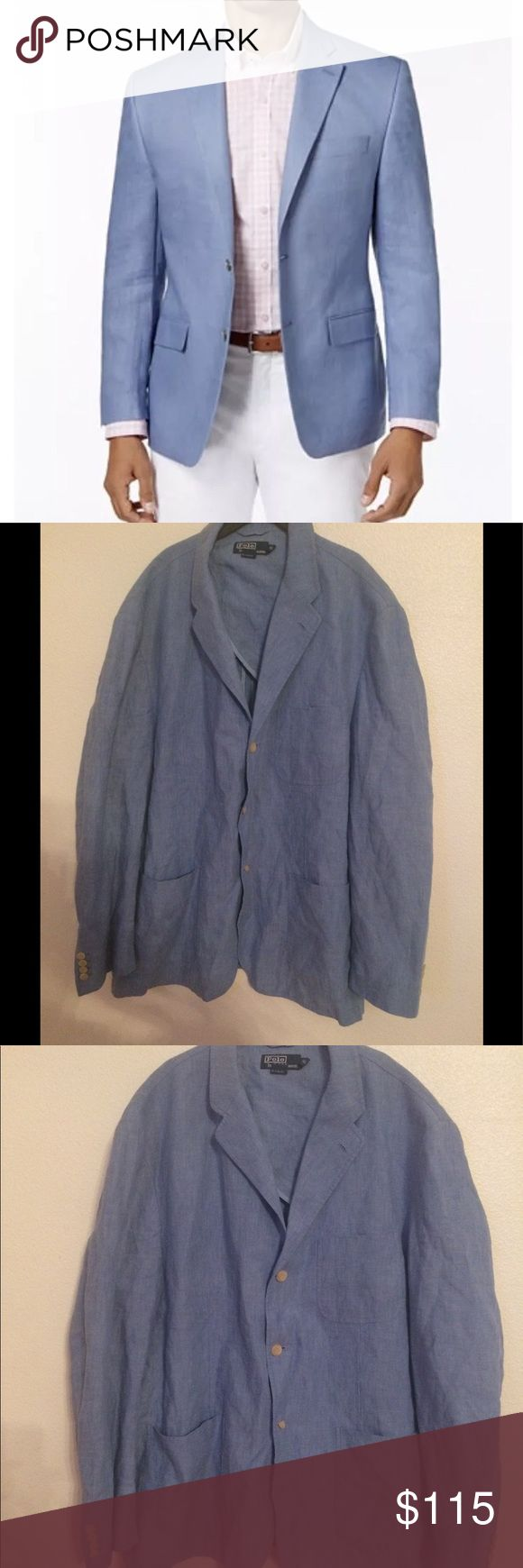 Ralph Lauren Polo Linen Blazers Sz XXL MSRP $350 Ralph Lauren Men's 100% Linen Blazers / Jacket Sz XXL (2X) MSRP $350 Ralph Lauren Polo Color: Light Blue Size Men's Big&Tall  Color of the real item may be a little bit different due to factors such as lighting / monitor resolution etc. Polo by Ralph Lauren Suits & Blazers Sport Coats & Blazers