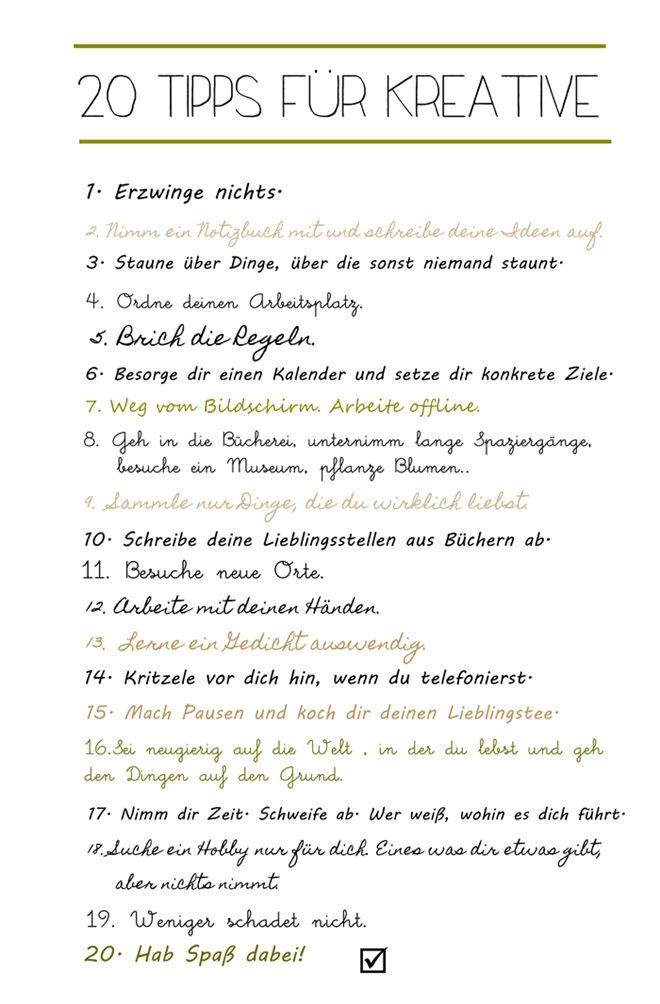 20 Tipps für Kreative.