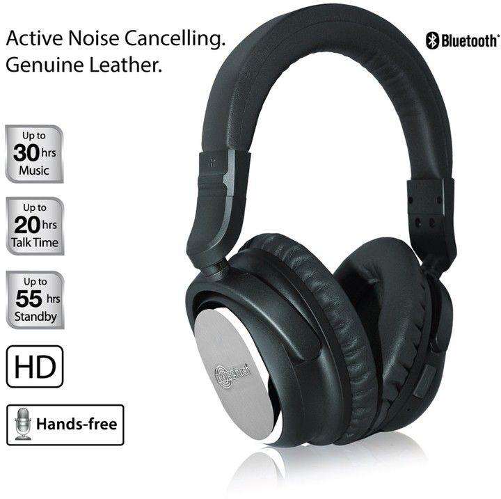 i9 Black Bluetooth Genuine Leather Active Noise Cancelling Headphones