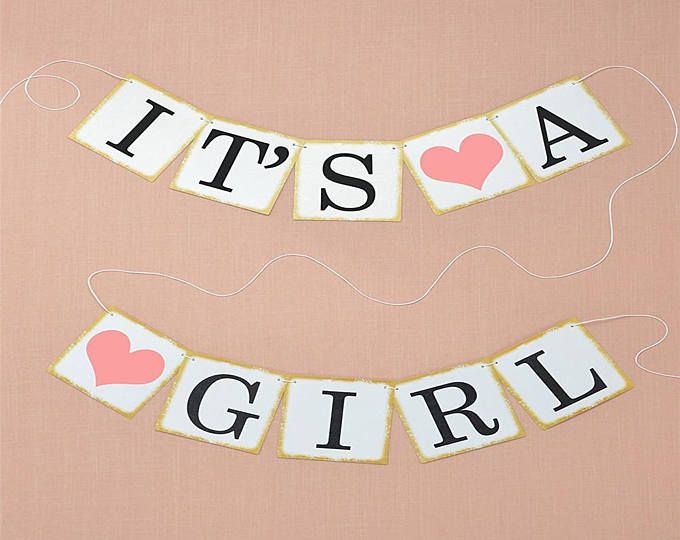 its a girl banner , banner ,its a girl , baby shower banner, baby shower, gender reveal banner