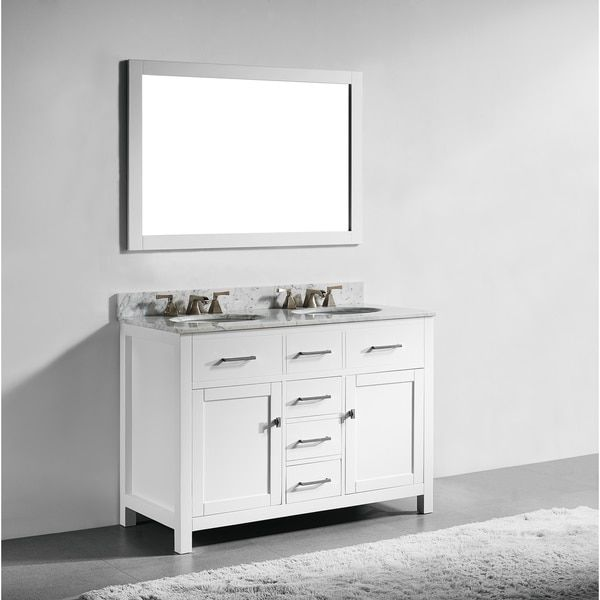 48inch white finish solid wood double sink bathroom vanity with soft closing drawers