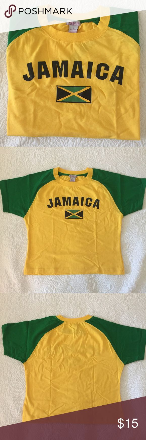 "Jamaica 🇯🇲 T-Shirt Jamaica 🇯🇲 T-Shirt... ""Magic Fit"" 100% Cotton, very good quality. Bold colors: Yellow... Green... On front of T-Shirt is hand painted ""Jamaica"" & ""Flag 🇯🇲"" !!!!! Wear yuh colors on August 6th... Jamaica Independence Day! This is size XL, other sizes and color for sale! Magic Fit Tops Tees - Short Sleeve"