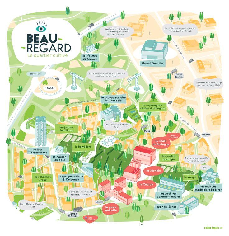 carte du quartier Beauregard Rennes - Deux degrés