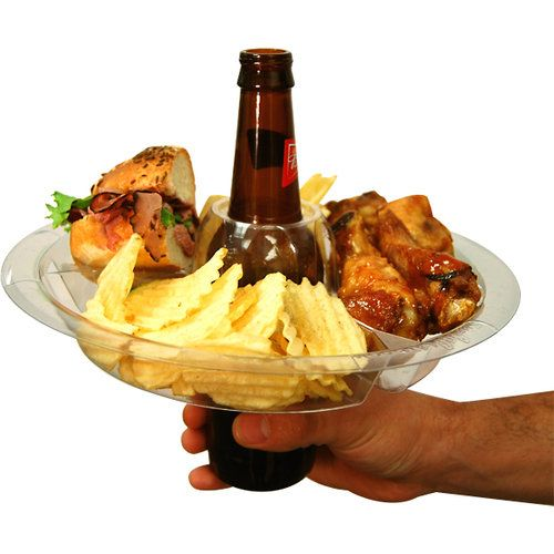 The Go Plate - What a good idea!Reusable Food, Ideas, Stuff, Beer Bottle, Beverages Holders, Parties Trays, Parties Plates, Products, Drinks