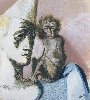 František Tichý - Klaun s opičkou, 1933.