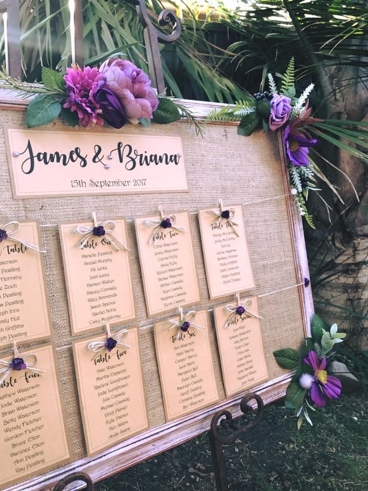 Choose your colours...posting world wide. Handmade rustic table seating plans