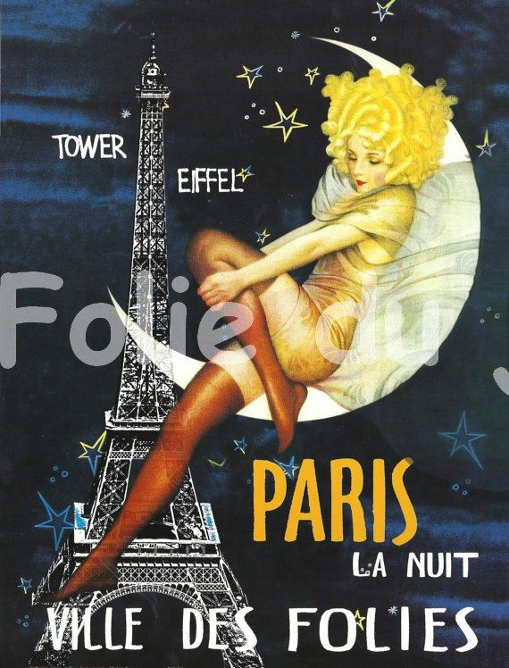 Antique French advertising print - eiffel tower Paris la Nuit ville des Folies poster Moon. $14.00, via Etsy.
