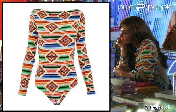 O body navajo de Clara (Giovana Antonelli) é da marca Lenny Niemeyer