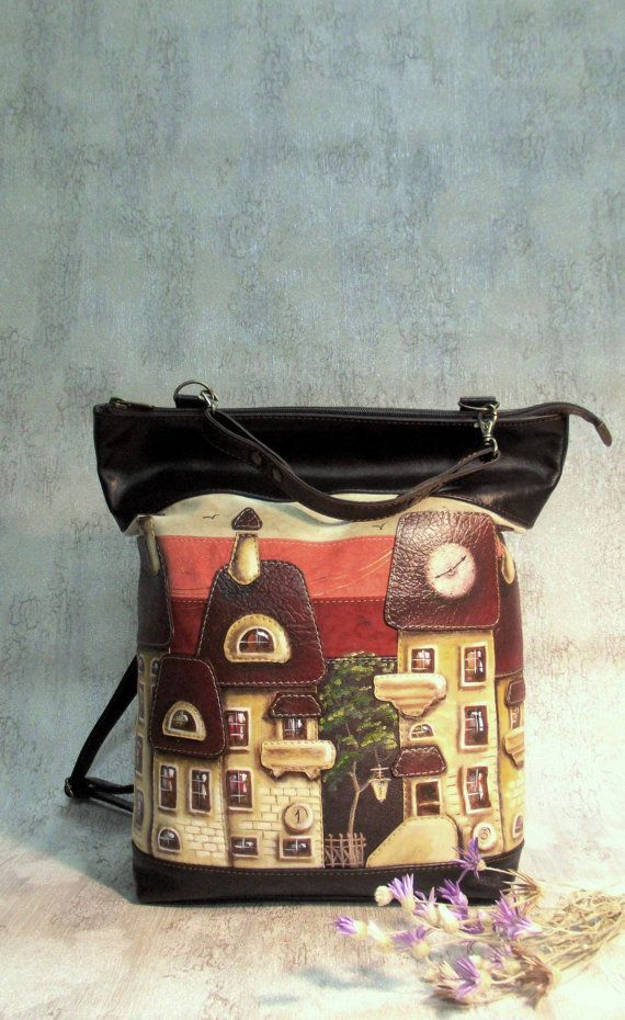 leather backpack  Leather bag with applique  soft leather  leather applique  hand-painted  painted backpack  backpack houses  brown backpack - pinned by pin4etsy.com #leather_backpack #Leather_bag #leather_applique #houses_backpack #CityRomance