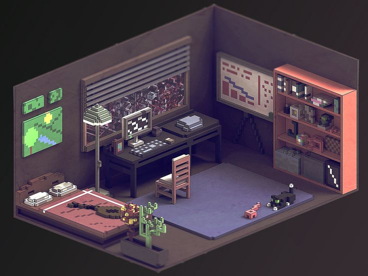 I started playing with Magica Voxel recently. This is what i got after week of playing. The elements in room might be random, but my goal was to get this kind effect.  You can download MV for free ...