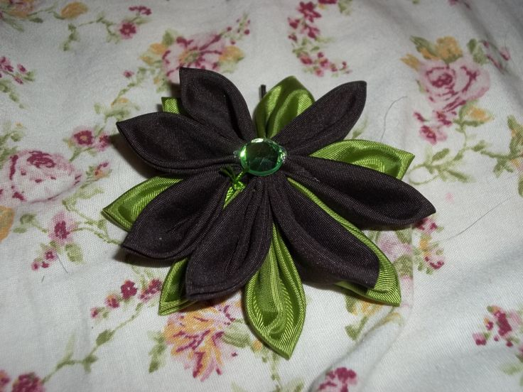 Handmade Brown and Bright Green Kanzashi Flower with Green Gem Center Hairpin by HeavenlyFlora on Etsy