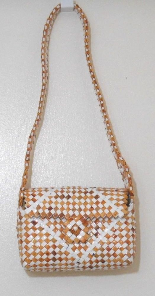 Re purposed Beige and White Candy Wrapper Purse Handmade shoulder bag recycled #Handmade #ShoulderBag