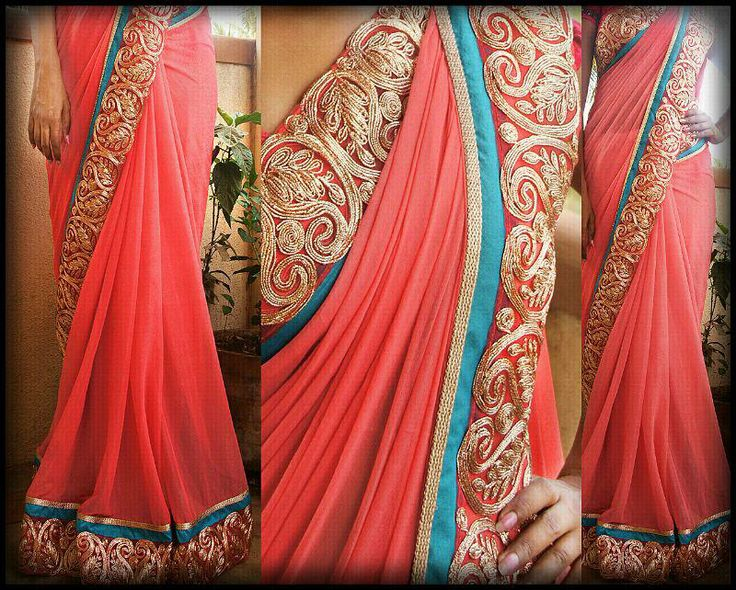 Peach shimmer Saree paired with zardosi motifs and blue pati Blouse - Blue silk cotton For pricing / order pls mail to indotus.couture@gmail.com
