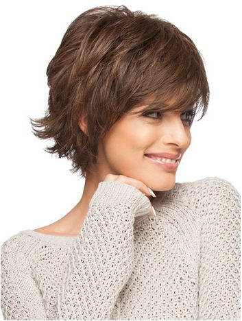 Special Edition by Christie Brinkley is a short, no-fuss, layered cut. This wig has both fashion and flair with its feather bangs and flipped, texturized ends.