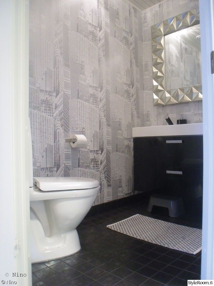 wc,peili,kaupunki tapetti,tapetti,moderni,kaupunki,kaupunkilainen,musta,harmaa,hopea,vessa,vessan sisustus