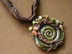 Náhrdelník keramický Zelený strom