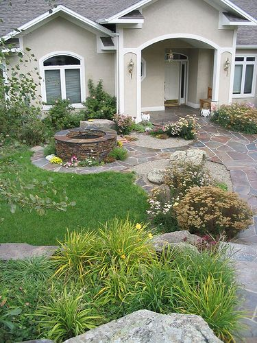 Outdoor Living with Small Gardens– Expand Your Living Space in the Summer: Front Gardens, Gardens Ideas, Rocks Gardens, Yard Gardens, Rivers Rocks, Gardens Fountain, Small Gardens, Landscape Ideas, Front Yard Landscape