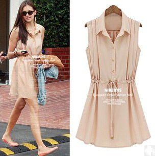 Free Shipping Hot Sale Women Clothing Fashion Summer Ladies Turn-down Collar Sleeveless Chiffon Female One-piece Dress LBR0238