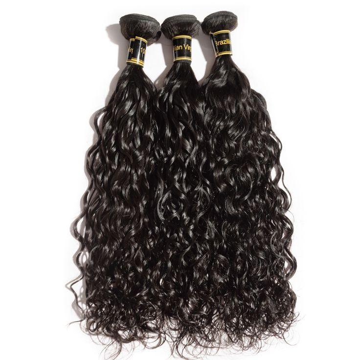 "10""-30"" 3 Bundles Natural Wavy 6A Virgin Brazilian Hair Natural Black 300g"