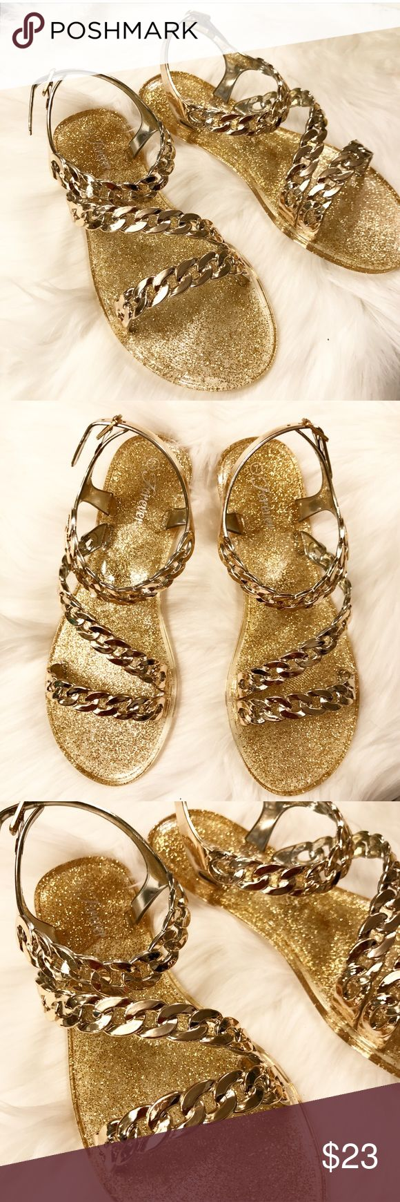 Gold Jelly Sandals Gold Glitter Chain Jelly Sandals. True to size. Very comfortable. Perfect for those pedicure days! Forever Shoes Sandals