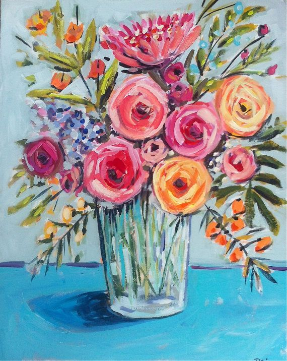 The gallery for acrylic painting flowers for beginners for Painting large flowers in acrylic