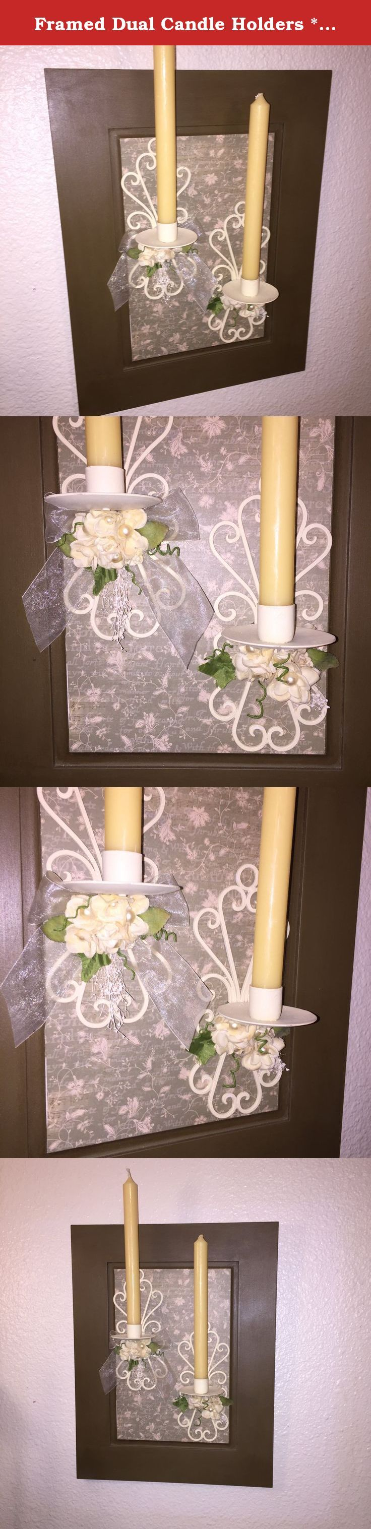 Framed Dual Candle Holders **FREE Shipping**. Your home would benefit from candlelight dancing across the walls from this up-cycled solid wood cabinet door. A striking home decor accessory in green and cream with 2 swirly candleholders embellished with romantic cream roses, sparkly pearls, ribbons and delicate baby's breath. This custom designed wall hanging will fit into most design styles from traditional to eclectic. Candles are included with purchase. The wall decor represents the…