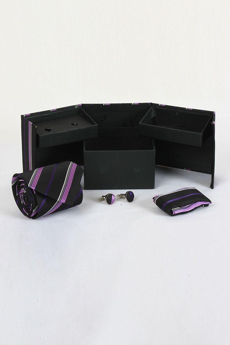 Buy Designer WIDSOR Black and Blue Tie,Cufflink and Pocket Square Combo Sets Online at GetAbhi.com http://tinyurl.com/jtm9u53