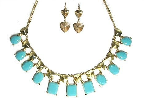 Seville Goldtone Necklace with Bonus Earrings (Turquoise) Maggie T New York