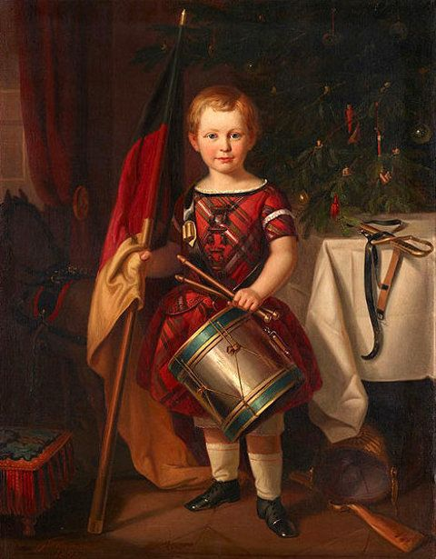 Child In Front Of A Christmas Tree Holding An Imperial German Flag