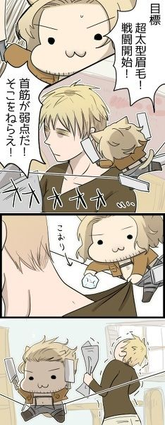 Cute hetalia chibi kitty france put a ice cube down englands shirt and flew off like in attack on titans