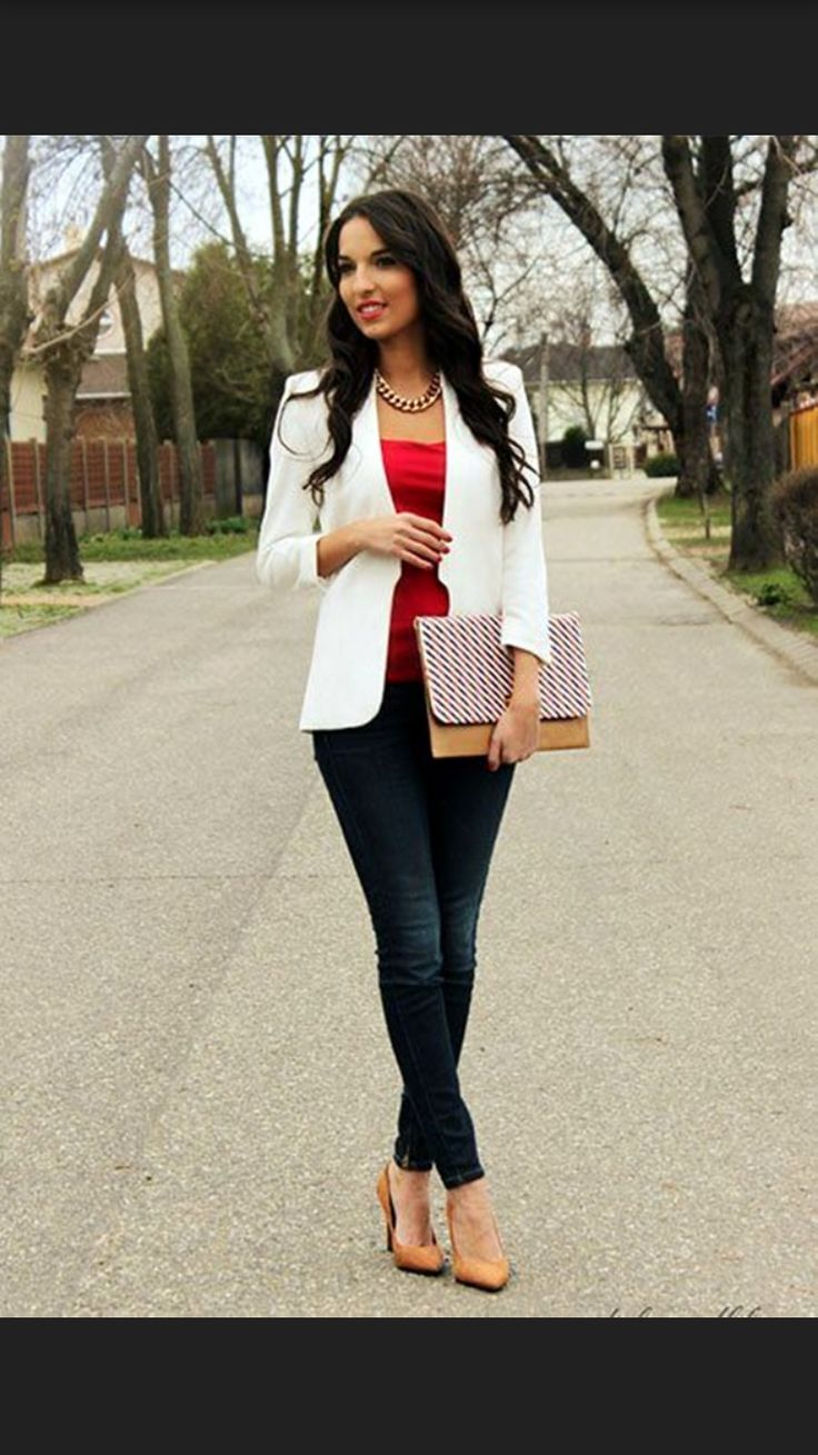 2017 business / work fashion! Take the stress out of shopping for work clothes & ask your Stitch Fix stylist to send you items like these. Delivered right to your door! #stitchfix #Sponsored  white blazer, nude pump, pop of color tank & black pants