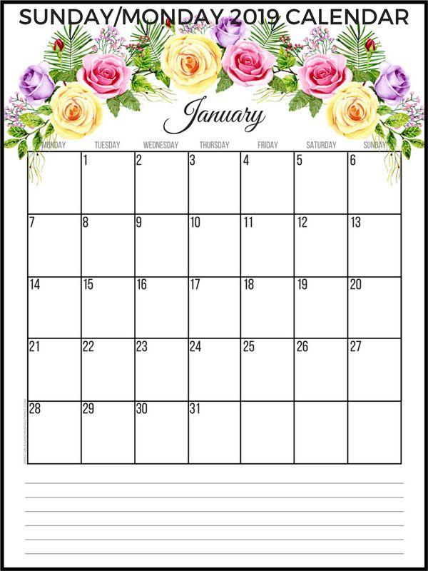 jan printable calendar 2019