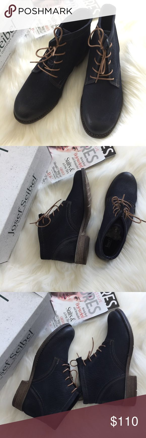 """JOSEF SEIBEL Sienna 03' Bootie 🌷Please Read the description! Thanks!🌷  Brand new with original shoe box Retail: $160 Size: 38 (Euro) Color: Hippo ocean  4"""" boot shaft Lace-up style Removable insole Color may be slightly different bcz of lighting  🌈💯AUTHENTIC 🌈All sales are final 🚭Smoke & Pet free home 🙅NO TRADES  🙅NO HOLDS Josef Seibel Shoes"""