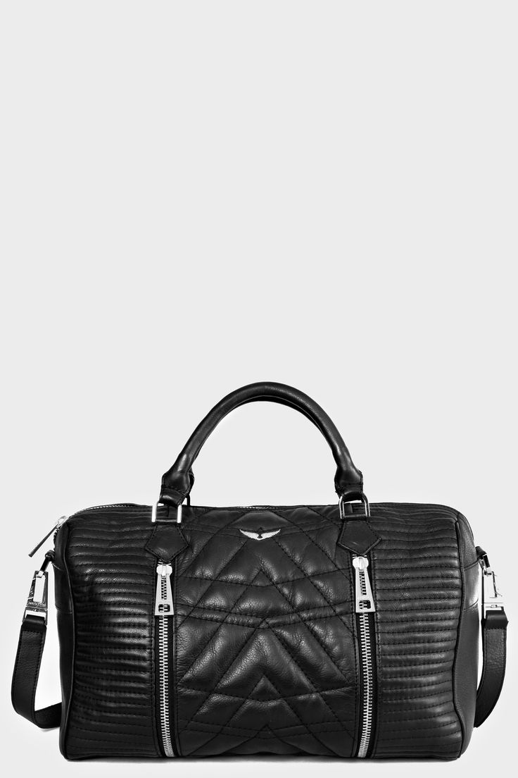 Zadig et Voltaire handbag, quilted, worn by hand or across the shoulder, handle with studs, two gussets, wing rivet, width 38 cm, height 24 cm, depth 18 cm, handles length 24 cm, shoulder strap length 92 cm, 100% cow leather bag sunny matelasse
