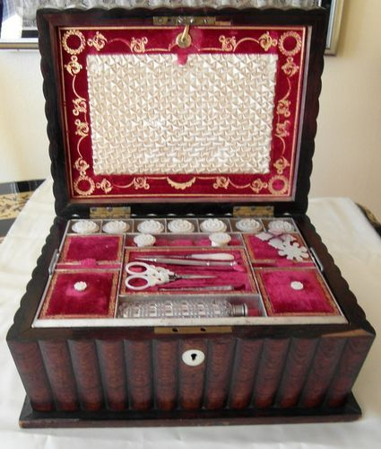 Antique English Sewing BOX C 1850 Near Complete MOP Sewing Tools London | eBay