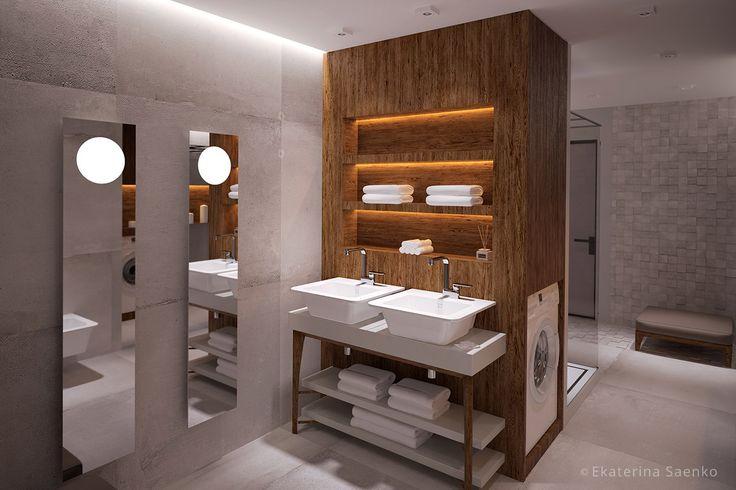 интерьер ванной комнаты с душевой, дом из морских контейнеров спб
