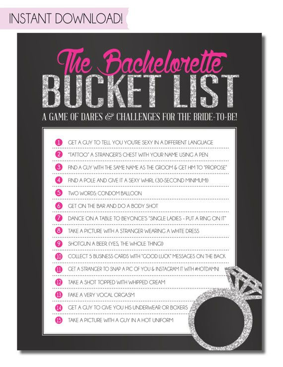Bachelorette Party Game Bucket List INSTANT by SweetBeeShoppe