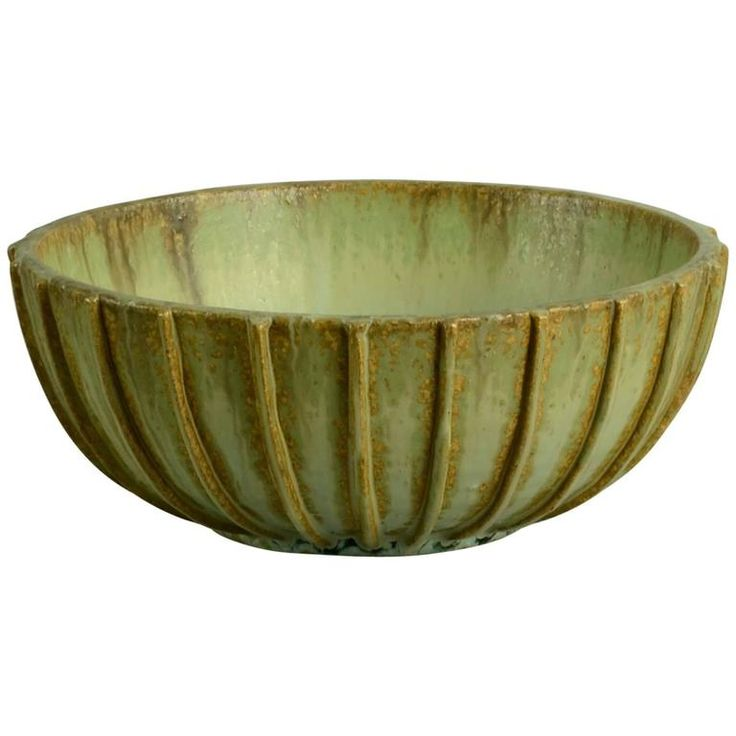 Stoneware Ribbed Bowl by Arne Bang, Denmark, 1930s-1940s | From a unique collection of antique and modern bowls and baskets at https://www.1stdibs.com/furniture/decorative-objects/bowls-baskets/