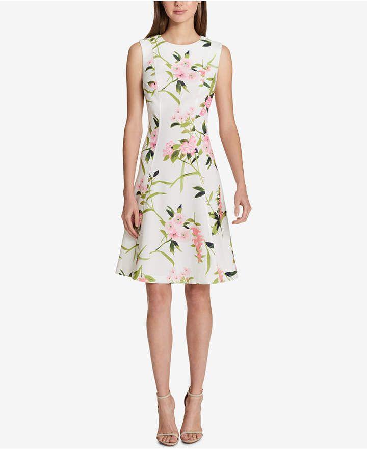 079b9d15a77 Tommy Hilfiger Floral-Print Fit   Flare Dress