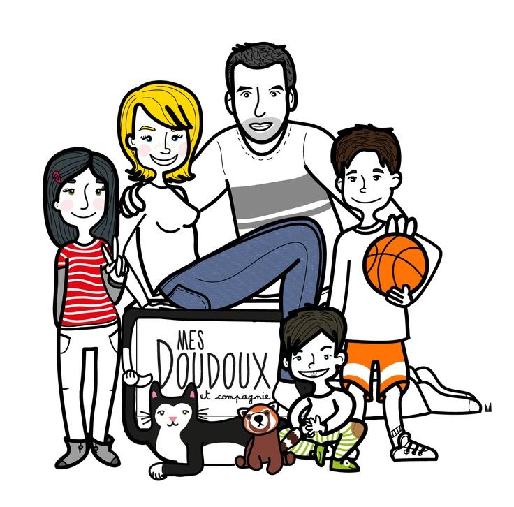 portrait de famille illustré -  #famille #nombreuse #mesdoudouxetcompagnie