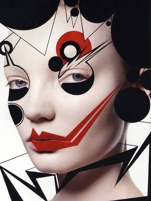 Graphic, has a bauhaus feel and culture about it. The sad clown...