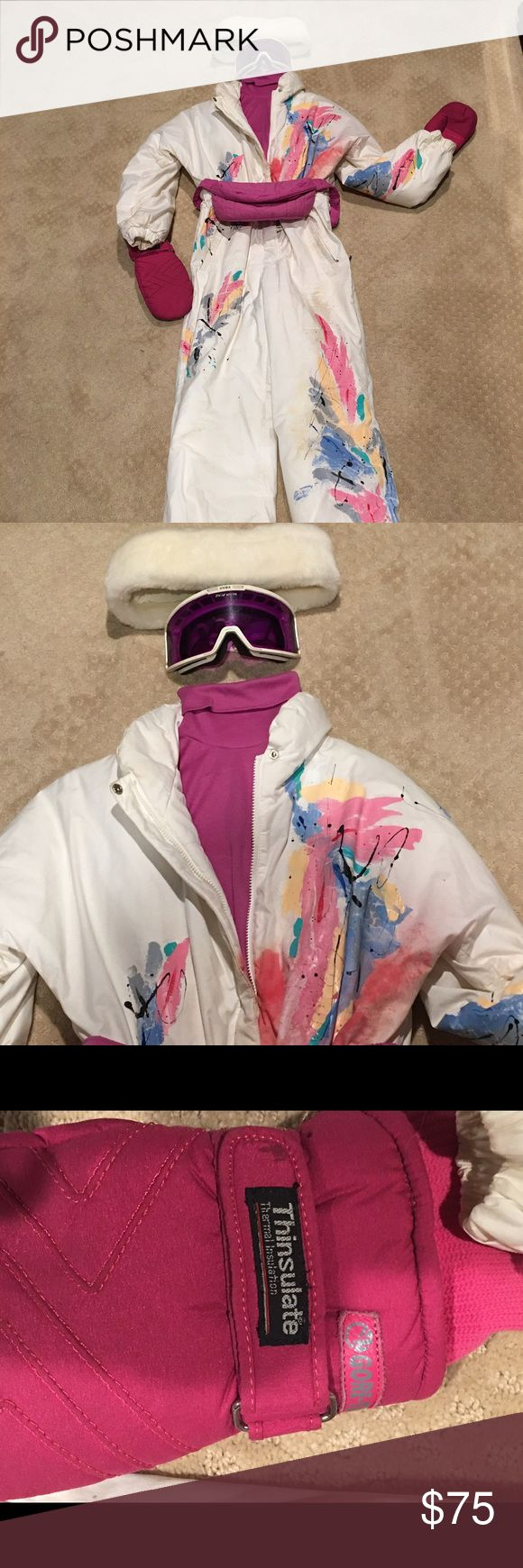 6 piece Ski suit pkg deal Ok so now your REALLY ready to go skiing with this complete ski set. SALOM Hand painted jumpsuit. Size 10. Hot pink cotton turtleneck, THINSULATE Mittens, OBERYYER fanny pack, UVEX purple anti fog goggles, white hat. Need nothing more than your boots and a pass and your ready to go. Easily a $400 pkg deal on sale now! Firm on price. slalom Other