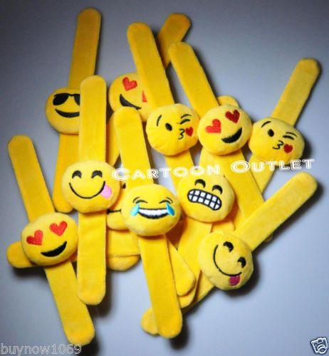12-PC-EMOJI-YELLOW-SLAP-BRACELETS-PARTY-FAVORS-GIFTS-PLUSH-EMOTIONS-RECUERDOS